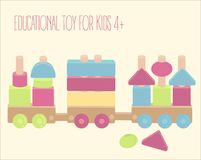 Wooden toy train with colorful blocks isolated over white. Wooden toy train with colorful blocks. Pegs and beads game. Vector illustration Royalty Free Stock Photos