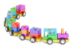 Wooden toy train with colorful blocs, 3D rendering Stock Photo