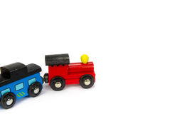 Wooden toy train with colorful blocs isolated Royalty Free Stock Photos