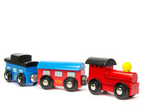Wooden toy train with colorful blocs isolated Stock Photos