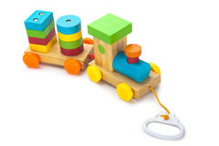 Wooden toy train. With colorful blocs isolated over white Royalty Free Stock Images