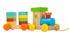 Wooden toy train. With colorful blocs isolated over white Royalty Free Stock Photo