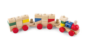 Wooden toy train with colorful blocs isolated over white with cl. Ipping path stock image