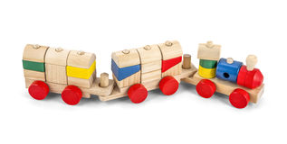 Wooden toy train with colorful blocs isolated over white with cl Stock Photo