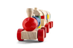 Wooden toy train with colorful blocs isolated over white with cl. Ipping path royalty free stock image