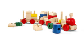 Wooden toy train with colorful blocs isolated over white with cl Stock Images