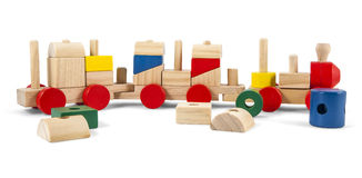 Wooden toy train with colorful blocs isolated over white with cl. Ipping path royalty free stock photography