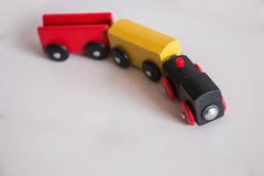 Wooden toy train with colorful blocs. Vintage toy stock image