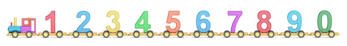Wooden toy train with colorful numbers, 3D rendering. Wooden toy train with colorful blocs, 3D rendering on white background Vector Illustration