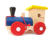 Wooden toy train engine Stock Images