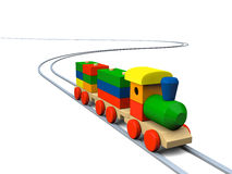 Wooden toy train illustration. 3D illustration of colorful wooden toy train on rails Royalty Free Stock Photos