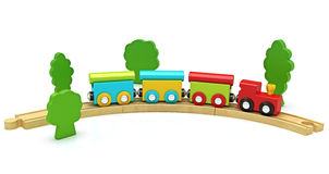Wooden Toy Train Isolated On A White Background Royalty Free Stock Image