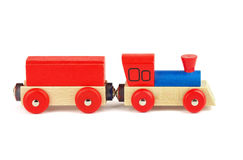Wooden toy train. Isolated on white background Stock Photos