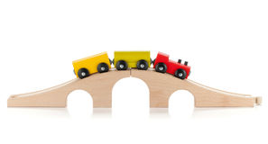 Wooden toy train. Isolated on white background Stock Image
