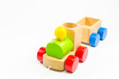 Wooden toy train. Isolated on white background Royalty Free Stock Photography
