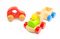 Wooden toy train. Isolated on white background Royalty Free Stock Photos