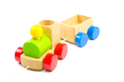 Wooden toy train. Isolated on white background Stock Photography