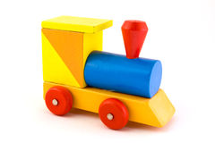 Wooden toy train over white Royalty Free Stock Images
