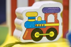 Wooden toy train - Play set Educational toys for preschool indoo. R playground selective focus stock photo