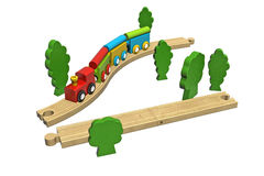 Wooden toy train set.  Royalty Free Stock Photography