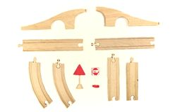 Wooden toy train set Royalty Free Stock Photos