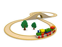 Wooden toy train with track Royalty Free Stock Photo