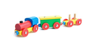 Wooden toy train on white Stock Photography