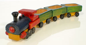Wooden Toy Train. On white Royalty Free Stock Photo