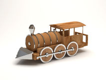 Wooden Toy Train on white background Royalty Free Stock Images