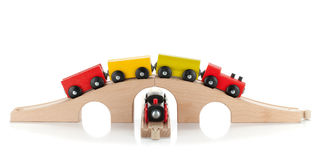 Wooden toy trains Royalty Free Stock Images