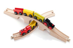 Wooden toy trains Royalty Free Stock Photo