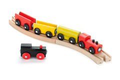 Wooden toy trains Stock Photo