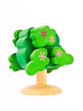 A Wooden toy tree isolated on white background Royalty Free Stock Images