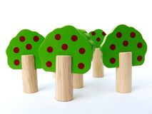 Wooden Toy Trees. Toy wooden trees on a white background stock photography
