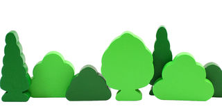 Wooden toy trees isolated on white Royalty Free Stock Image