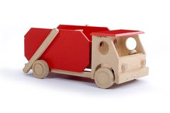 Wooden Toy Truck. Isolated on a white background.  Taken in studio Stock Images