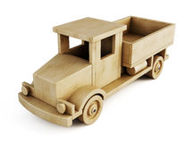 Wooden toy truck isolated on white background. 3d. stock illustration