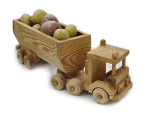 Wooden toy truck lucky potatoes Stock Photo