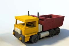 Wooden Toy Truck, single object, light background vector illustration