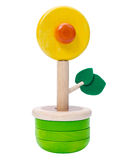 Wooden toy vase flower Royalty Free Stock Photo