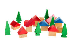 Wooden toy village Stock Images