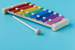 Wooden toy xylophone in rainbow colors. Educational toy for kids Royalty Free Stock Photos