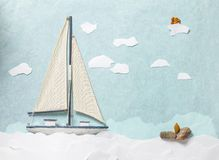 This is a wooden toy yacht on paper backgrond. stock illustration