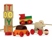 Wooden toys. One 3d render of children's wooden toys royalty free illustration
