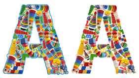 Wooden toys alphabet - letter A Royalty Free Stock Photography