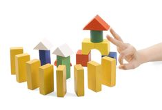 Wooden toys for the building Royalty Free Stock Images