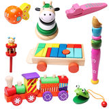 Wooden toys for children. Wooden colorful toys for children isolated on white background stock photos