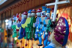 Wooden toys at Christmas Market in Saint-Petersburg, Russia. Royalty Free Stock Images