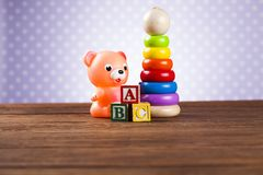 Pile of toys, collection on wooden background royalty free stock image