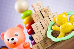 Pile of toys, collection on wooden background stock photos